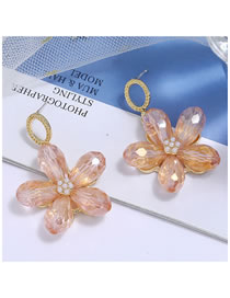 Fashion Pink Crystal Five Leaf Flower Pearl Alloy Stud Earrings