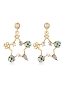 Fashion Blue Crystal Pearl Five-pointed Star Stud Earrings