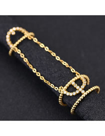 Fashion Golden Geometrical Alloy Ring With Diamond Chain