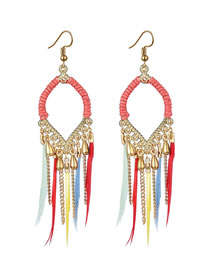 Fashion Color mixing Feather Drop Alloy Tassel Earrings