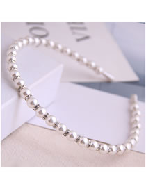 Fashion Silver Diamond And Pearl Beaded Hair Band