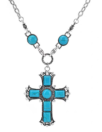 Fashion Green Cross Pearl Turquoise Alloy Necklace
