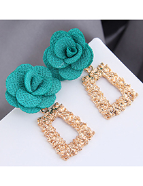 Fashion Blue Geometric Alloy Flower Earrings