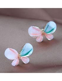 Pendientes De Botón De Color De Contraste De Aleación De Mariposa