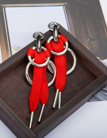 Fashion Red Lace Knotted Round Alloy Hollow Earrings
