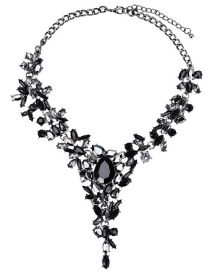 Fashion Black Drop-shaped Crystal Alloy Necklace With Diamonds
