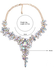 Fashion Color Drop-shaped Crystal Alloy Necklace With Diamonds