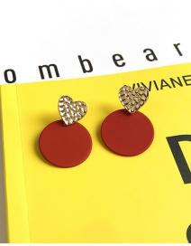 Fashion Red Geometric Round Love Drop Enamel Earrings