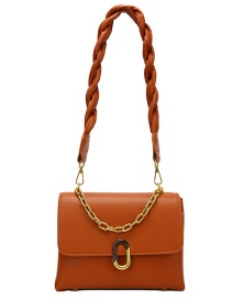 Fashion Brown Braided Shoulder Strap Chain Shoulder Bag