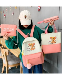 Fashion Pink Mouse Print Stitching Contrast Color Backpack Four-piece Set