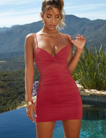 Fashion Red Strapless V-bag Hip Bandage Pleated Dress
