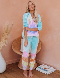 Fashion Pink Blue Positioning Mark Tie-dye Hooded Two-piece Suit