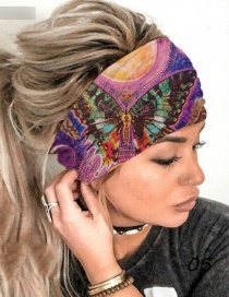 Fashion Purple Elastic Butterfly Print Wide-brimmed Hair Band