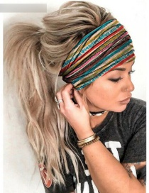 Fashion Stripe Striped Printed Contrast Geometric Wide-brimmed Hair Band