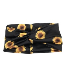 Fashion Sun Flower Knotted Flower Print Tie-dye Wide-brimmed Hair Band
