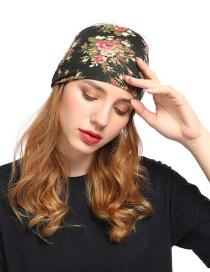 Fashion Pink Flower Contrast Print Geometric Wide-brimmed Hair Band