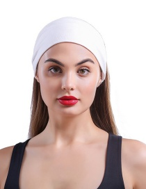 Fashion White Solid Color Wide Edge High Elastic Hair Band