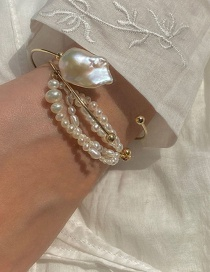 Fashion Freshwater Pearl Handmade Freshwater Pearl Beaded Alloy Open Bangle