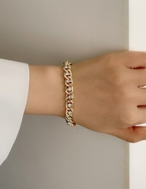 Fashion Bracelet Necklace With Alloy Thick Chain And Diamonds