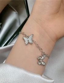 Fashion White Butterfly Mother-of-pearl Diamond Cutout Bracelet