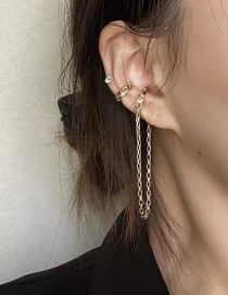 Fashion Golden Suit Metal Asymmetrical Chain Alloy Earless Ear Clip