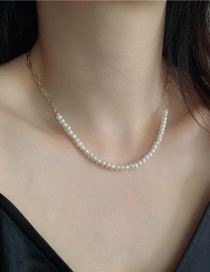 Fashion White Chain Stitching Natural Rice Pearl Necklace