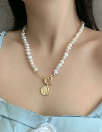 Fashion White Natural Pearl Ot Buckle Alloy Necklace