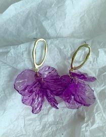 Fashion Petals Resin Grape Flower Petals Contrast Color Alloy Earrings