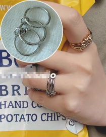 Fashion Silver Three-ring Finger Hollow Ring