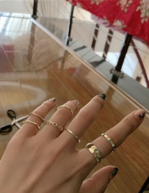 Fashion Golden Brass Geometrical Alloy Ring Set