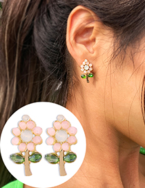 Fashion Pink Alloy Crystal Flower Earrings