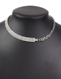 Fashion White K Chain Necklace With Diamond Claw Chain Alloy Stitching