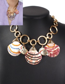Fashion Golden Shell Conch Splicing Alloy Hollow Necklace