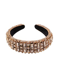 Fashion Golden Sponge Wide-brimmed Hair Band Studded With Diamond Claw Chain