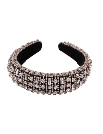 Fashion White K Sponge Wide-brimmed Hair Band Studded With Diamond Claw Chain