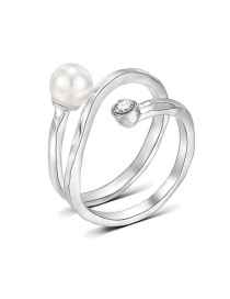 Fashion Silver Pearl And Diamond Hollow Double Alloy Ring