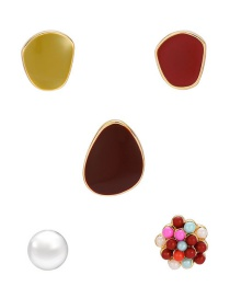Fashion Color Asymmetrical Geometric Dripping Pearl Contrast Color Alloy Earring Set