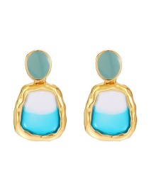 Fashion Color Transparent Resin Dripping Alloy Geometric Earrings