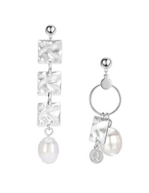 Fashion Silver Asymmetrical Pearl Square Alloy Earrings