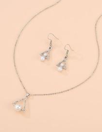 Fashion Silver Alloy Diamond Pearl Necklace Bracelet