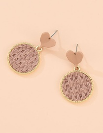 Fashion Golden Alloy Love Round Stud Earrings