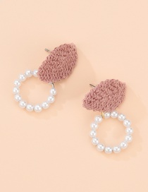Fashion Pink Velvet Pearl Round Earrings