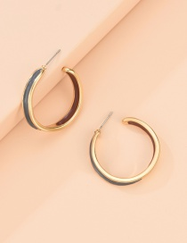 Fashion Golden Alloy Geometry C-shaped Oil Drop Earrings