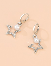 Fashion Silver Alloy Pearl Diamond Five-pointed Star Stud Earrings