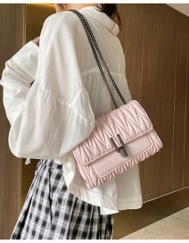 Fashion Pink One-shoulder Crossbody Bag With Pleated Lock Chain