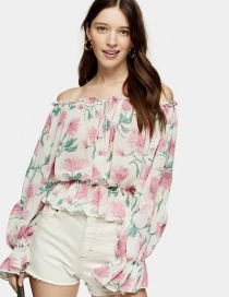 Fashion White Flower Print Word Shoulder Shirt Top
