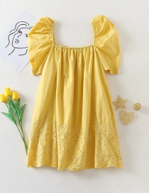 Fashion Yellow Elastic Square Collar Puff Sleeve Hollow Dress