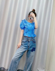 Fashion Blue Embroidered Ruffled Short Shirt