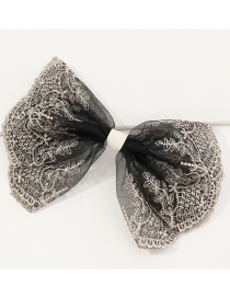 Fashion Black Lace Big Bow Embroidery Contrast Color Spring Clip