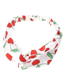 Fashion White Checked Fabric Print Cross Knotted Hoop